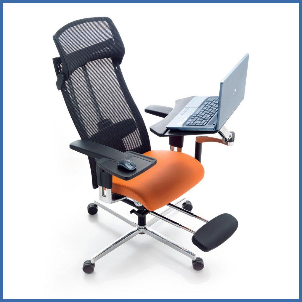 Ergonominen työtuoli mPosition työasema sisältää työtuolin ja työpöydän  Työ