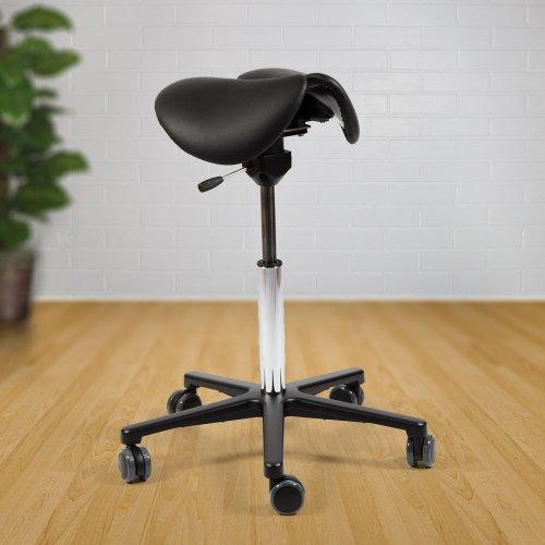 Aktiivi satulatuoli kaksiosainen keinuva Ergonea Pilates Dual musta nahka, kotimainen ergonominen satulatuoli hinta tarjous netistä