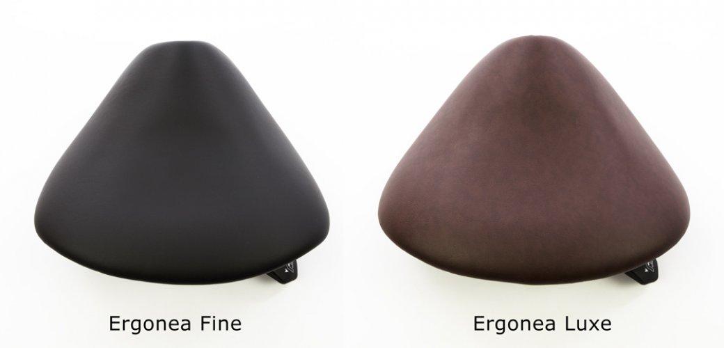 Kapean satulatuolin Ergonea Finen ja Ergonea Luxen ergonomisten satuloiden kokoero