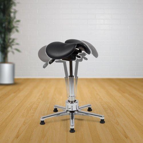 Hyvä satulatuoli kaksiosainen musta Ergonea Dual Twist nahka, edullinen ja ergonominen kotimainen aktiivituoli