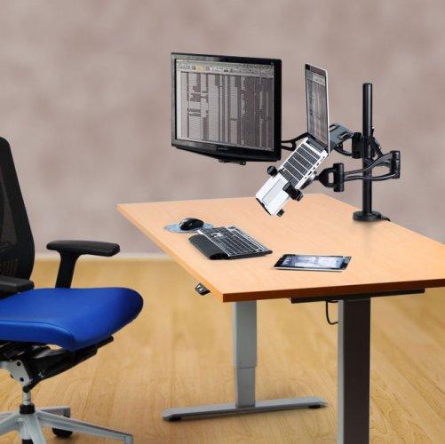 Näyttöteline monitorivarsi Fellowes on kannettavan tietokoneen teline ja alusta, näytönvarsi eli läppäriteline on hyvä kannettavan läppärin teline sekä alusta, monitorivarsi eli näyttöteline sopii kahdelle näytölle tarjous hinta sähköpöytään