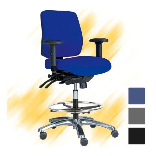 Kassatuoli sininen Pro 20 pyörillä on ergonominen työtuoli, kassatuolit hinta tarjous