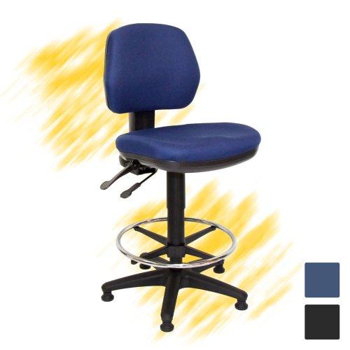 Kassatuoli Team7/200 hyvä kassan työtuoli hinta tarjous yrityksille, edullinen kassatuoli ja korkea työtuoli pyörillä, ergonominen tuoli kassalle hyvä ergonomia ja edullinen hinta, kassatuoli sininen korkea jalkarenkaalla kassoille, edulliset korkeat