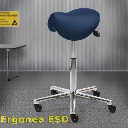 Ergonominen satulatuoli Ergonea Luxe ESD sininen on kotimainen maadoitettu sähköä johtava satulatuoli. Ergonea Luxe ESD purkaa pienimmätkin jännitteet, satulatuoli hinta tarjous netistä edullisesti