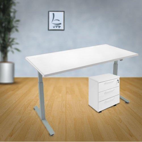 Sähkötyöpöytä Basic on hyvä laadukas ja ergonominen seisomapöytä jolla edullinen tarjous hinta hyvät sähkötyöpöydät halvalla yrityksille, halpa säädettävä työpöytä valkoinen 120 cm kannella sähkötyöpöytä edullisesti se on säädettävä työpöytä seisomapöytä
