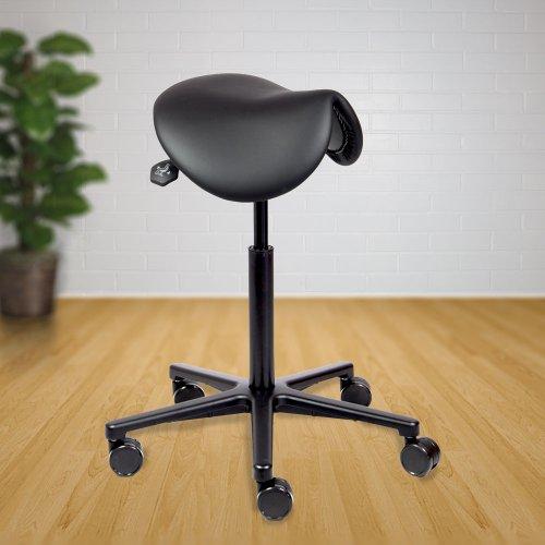Satulatuoli Ergonea Ebony Täysmusta on tyylikäs ja ergonominen satulatuoli toimistoon kuin toimistoon