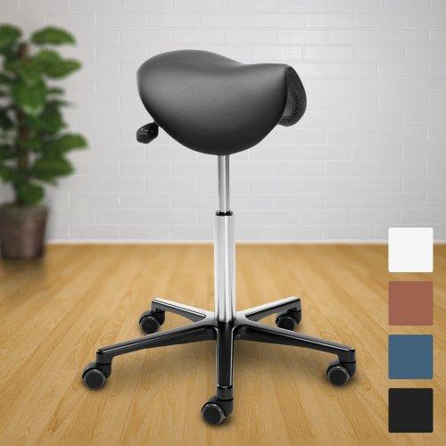 Hyvä satulatuoli halpa hinta tarjous Ergonea Luxe on ergonominen ja kotimainen naisille sopiva edullinen tuoli jonka musta istuin on aitoa nahkaa