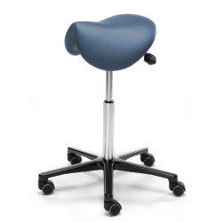 Kotimainen satulatuoli sininen nahka Ergonea Luxe lisää toimiston ergonomiaa