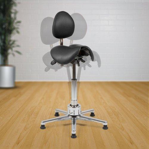 Satulatuoli kaksiosainen aktiivituoli selkänojalla Ergonea Dual Gym Twist musta nahka hinta tarjous
