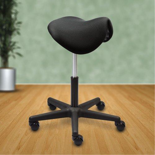 Satulatuoli musta kangas nyt edullinen tarjous hinta kotiin ja toimistoon, Kiia Basic hyvä satulatuoli ja ergonominen istuin mustaa kangasta, hyvä ergonomia naiselle ja tarjous hinta kotiin tai työpaikalle, edullinen tarjous satulatuoli musta