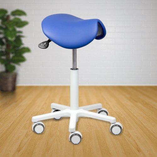 Satulatuoli sinivalkoinen Ergonea 102 on ergonominen ja kotimainen edullinen tuoli jonka sininen istuin on aitoa nahkaa