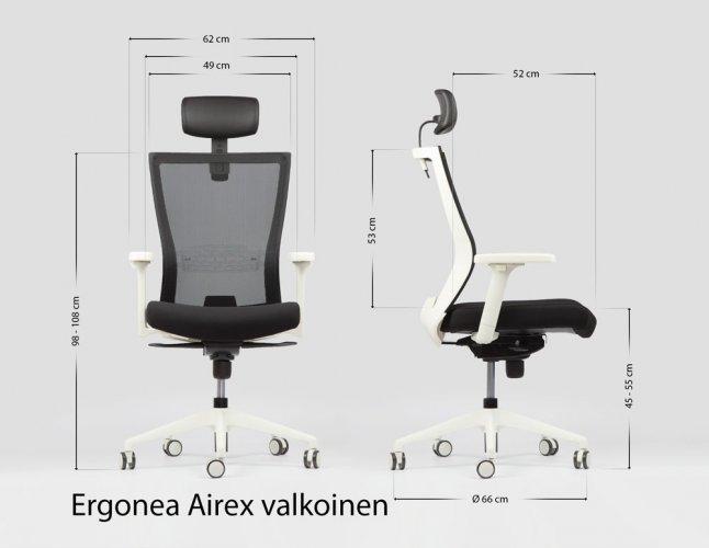 Ergonominen valkoinen työtuoli on keinuva ja edullinen toimistotuoli Ergonea Airex mitat ja hyvä takuu