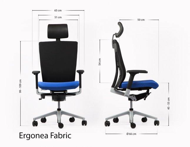 Ergonomisen ja säädettävän Ergonea Fabric työtuolin mitat