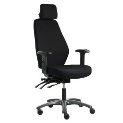 Hyvä toimistotuoli Optimum Z laadukas ergonominen työtuoli hinta tarjous mustalla kankaalla