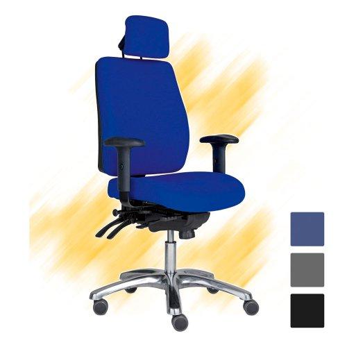 Työtuoli Pro 40+ sininen korkea selkänojallinen työtuoli niskatuella edulliseen hintaan
