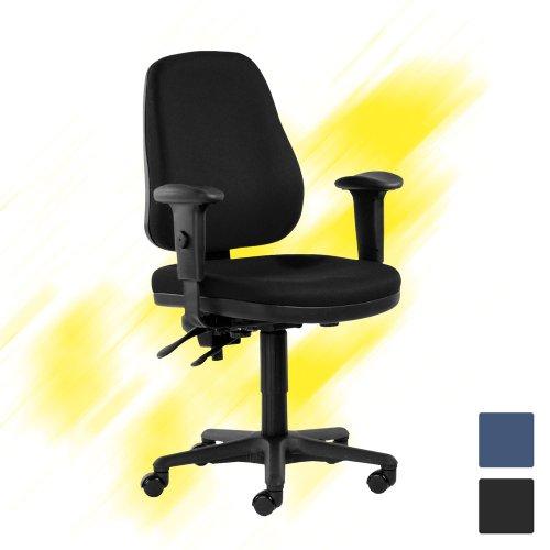 Hyvä työtuoli Team 9 toimistotuoli musta konttoriin tarjous hintaan, ergonominen tietokonetuoli kotiin tai toimistoon, edullinen työtuoli musta kangas halpaan hintaan, hyvä ergonomia ja edullinen hinta työtuolissa